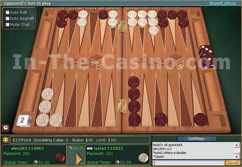 Screenshot of Online Backgammon Tournament