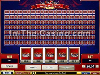 50-line Jacks Or Better at Europa Casino
