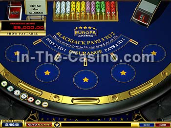 Blackjack Progressive at Europa Casino